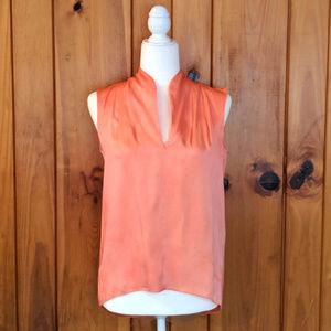 Coral Silk Tahari Tank XS suit blouse V neck